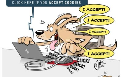Cartoon about a dog behind a laptop. He is asked to accept cookies... from www.dogsdontwhisper.com
